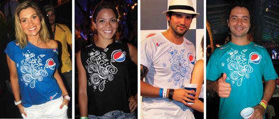 Famosos durante os Festival de Verão usando as camisetas do Camarote Pepsi Gold
